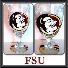FSU hand painted glass by DanielleFigueroaArt on Etsy,