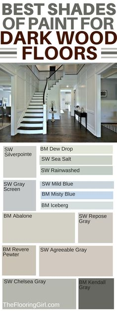 How to choose the best shade of paint and accent wall colors if you have dark hardwood floors. Which wall colors go best with dark hardwood flooring? Which paint shades are best for dark flooring and which paints should you use for accent walls? Best Paint Colors, Paint Colors For Home, Paint Colours, Best Wall Colors, Paint For A Dark Room, Dark Colors, Foyer Paint Colors, Trending Paint Colors, Wall Colours