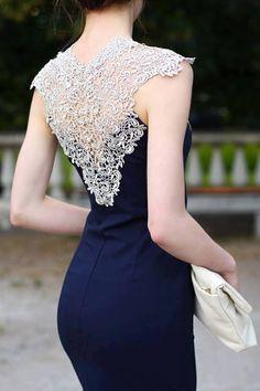 Ariadna Majewska - Navy Blue Midi Elegant Dress -lovely lace back Elegant Midi Dresses, Trendy Dresses, Blue Dresses, Beautiful Dresses, Casual Dresses, Fashion Dresses, Formal Dresses, Gorgeous Dress, Purple Dress