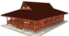 Large rectangular 2 bedroom model containing over-sized Great Room with high vaulted ceiling. Tropical House Design, Tropical Houses, Forest House, Farm House, Roof Sheathing, Wood Shingles, Forest Design, Roof Structure, Common Area