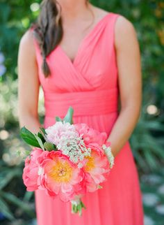 This Romantic Naples Garden Wedding from Justin DeMutiis Photography features hot pink bridesmaids and coral charm peonies. Hot Pink Bridesmaids, Amsale Bridesmaid, Bridesmaid Dresses, Coral Wedding Colors, Coral Charm Peony, Naples, Garden Wedding, Style Me, Wedding Inspiration