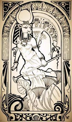 Hathor egyptian goddess                                                                                                                                                                                 More Egyptian Drawings, Egyptian Tattoo, Egyptian Art, Egyptian Mythology, Egyptian Goddess, Gods And Goddesses, Ancient Egypt, Occult, Deities