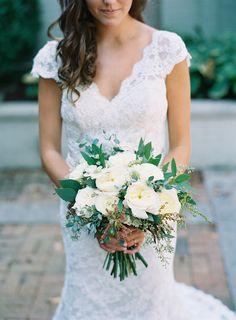 Ivory and greenery bridal bouquet // Nashville Wedding Flowers