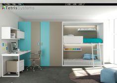 Literas Rubbik con armario cabina y escritorio