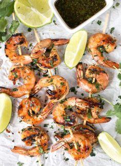 Cilantro Shrimp, Grilled Shrimp, Shrimp Recipes, Chicken Recipes, Fish Recipes, Spinach Recipes, Garlic Parmesan Shrimp, Shrimp And Vegetables, Shrimp Skewers