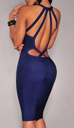 Shop Backless V Cut Bodycon Dress online. SheIn offers Backless V Cut Bodycon Dress & more to fit your fashionable needs. Miami Fashion, Blue Fashion, Look Fashion, Dress Fashion, Fashion 2018, Fashion Rings, Street Fashion, Latest Fashion, Club Dresses