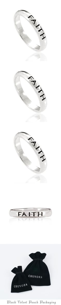 Chuvora 925 Sterling Silver Faith Spiritual Inspiration Stackable Narrow Ring for Women, Teen, Girls - Nickel Free - Stacking - Jewelry -