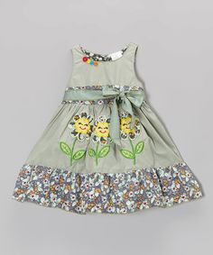Love this Green Floral Dress - Infant, Toddler & Girls by the Silly Sissy on #zulily! #zulilyfinds