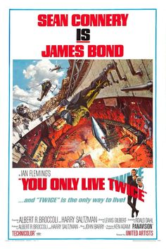 """YOU ONLY LIVE TWICE (1967)  """"Sean Connery IS James Bond"""" proclaims this poster. And apparently, James Bond is Spider-Man. How else can you explain him casually walking horizontally with no regard for gravity.  Still, it's an eye-popping visual that captures the climatic showdown in Blofeld's secret volcano base."""
