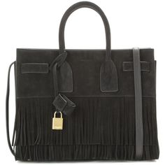 Saint Laurent Sac De Jour Small Fringed Suede Tote ($2,755) ❤ liked on Polyvore featuring bags, handbags, tote bags, black, suede tote bag, suede handbags, suede fringe handbag, tote handbags and tote purse