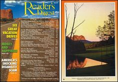 """Reader's Digest front and back cover, August 1994 Art Director: Richard J. BerensonArtwork on back: """"Pining"""" by Mark Workman Workman was born in Lancaster, PA in 1960 and received a BFA from Tyler School of Art in 1982. He currently resides with his family in Lititz, PA where he maintains a studio/gallery in a renovated garage behind his home. Mark's luminous landscape paintings have been included in exhibitions at museums and galleries across the country."""