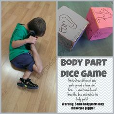 Getting Messy With Ms. Jessi: Body Part Dice Game. Fun for elementary lessons but don't use a picture and practice word recognition Gross Motor Activities, Movement Activities, Preschool Activities, Listening Activities, All About Me Preschool, Music And Movement, Spanish Lessons, Teaching Spanish, Dice Games