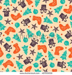 Vintage Christmas Seamless Pattern for Xmas Wrapping Paper Raster Xmas…