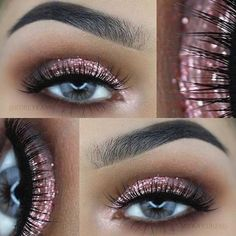 Rose Gold Glitter Eye Makeup Look