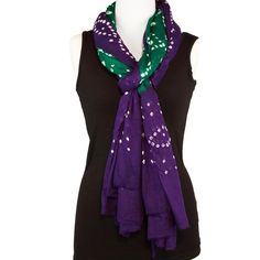 Tie Dye Scarf - Cotton Scarf or Beach Sarong - Green and Purple