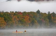 Morning mist in the Adirondack mountains.