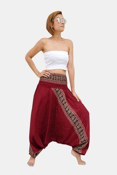 Solid Burgundy Egyptian Stripe Thai Harem Pants Women Jumpsuit