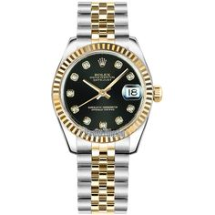 Rolex Datejust 31mm Stainless Steel and Yellow Gold 178273 Black... ($9,900) ❤ liked on Polyvore featuring jewelry, watches, rolex watches, stainless steel watches, black dial watches, gold jewelry and black diamond watches