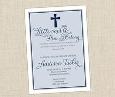 Baby Dedication Invitation Christening Invitations Boy