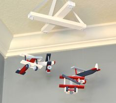 Airplane Nursery Mobile Nursery Decor Airplane Red Navy White Blue – Flutter Bunny Boutique, LLC