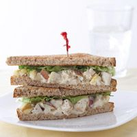 Chicken Salad Sandwiches  237 cals per serving - serves 4  Light mayo and lowfat yoghurt make this still count as diet food..... Awesome..