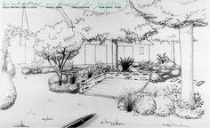 Esquisse d'après photos. Etude de projet d'aménagement paysager - Ingrandes sur Loire (49)