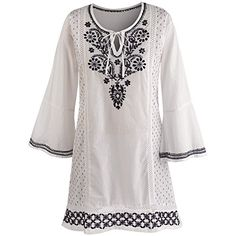 Womens Tunic Top  White And Black Embroidered 34 Sleeve Shirt  2X * Details can be found by clicking on the image.(This is an Amazon affiliate link)