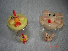 Feito a Mão Artesanatos - Angélica (angelgmg@uol.com.br): Potes de Vidro decorados com Biscuit...