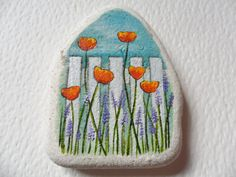 Flowers by the fence - Original miniature painting on English sea pottery