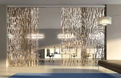 Sliding frameless glass partitions Room Divider Headboard, Room Divider Shelves, Bamboo Room Divider, Glass Room Divider, Living Room Divider, Room Divider Curtain, Divider Cabinet, Fabric Room Dividers, Hanging Room Dividers