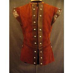 Costumes/Medieval/Men's Wear/Medieval Doublets/09007042 Doublet Men's Medieval, brown suede leather, C40