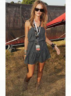 Rosie Huntington-Whiteley at Glastonbury music festival