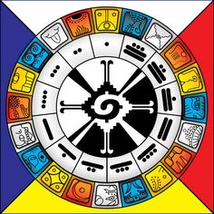 """In the symbolism of the Mayan calendar, the colors (red, white, blue and yellow) identify the four directions: EAST, NORTH, WEST and SOUTH. These directions are associated with daytimes, seasons, symbols, elements, ... Each direction """"governs"""" 5 day glyphs. The color of a glyph identifies its direction."""