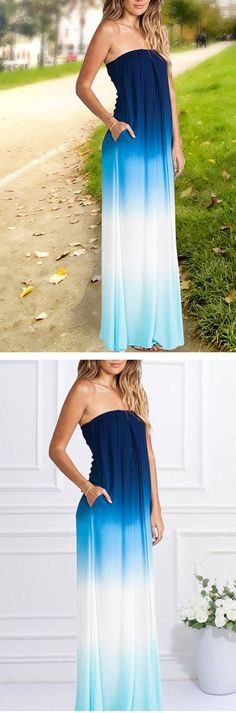 Blue Ombre Strapless Dress
