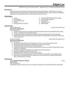 Data Entry Resume Sample  Resume Writing    Data Entry