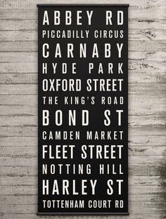 LONDON Canvas Bus Scroll / Destination List