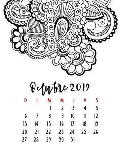 Calendario 2019 – Mama Inventiva Calendar Organization, Thing 1, Zentangle, Wedding Cards, Tatoos, Bullet Journal, Printables, Scrapbook, Lettering