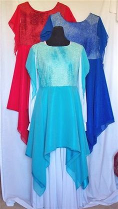 Glitter Dance Top with Double Hanky Hem Skirt and Sleevelets    Starting at: $63.00      This top has a double skirt, poly-silk underskirt and chiffon overskirt. The sleevelets are chiffon and sewn only at the shoulders to give a very soft look. It comes in three colors red, royal blue, and sea foam green. More colors are on their way. The white dress under the garment in the photo is for display only.   We make all of our dance wear on site, so custom orders are always welcome.