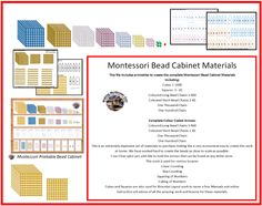 Making Montessori Ours Education Printables: Montessori Bead Cabinet Printable Including Arrows Thousand Cube, Squares and Chains!!