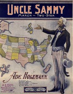 Uncle Sam (Sammy) vintage sheet music cover art U. Sheet Music Art, Vintage Sheet Music, Let Freedom Ring, Music Covers, Graphic Design Typography, Vintage Paper, Cover Art, Vintage Photos, Songs