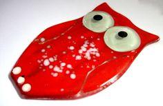 Coruja de vidro para composição de trabalhos artísticos,mosaicos e outros trabalhos decorativos e artesanais.