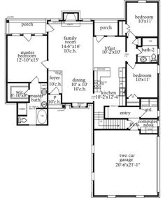 First Floor Plan of Traditional   House Plan 71445