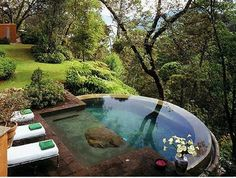 round pool 1 foot wide wood edge drops down to 18 inches then deck - Google…