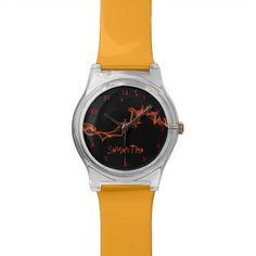 Flames Custom Personalized Wrist Watch