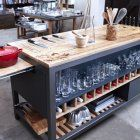 We like this alternative to the usual kitchen island: the custom Mise en Place work table from Dublin-born, Cape Town-based chef Liam Tomlin, founder of the Chef's Warehouse & Cookery School. Light Wood Kitchens, Fancy Kitchens, Home Kitchens, Kitchen Work Bench, New Kitchen, Kitchen Dining, Crazy Kitchen, Kitchen Furniture, Chefs Warehouse