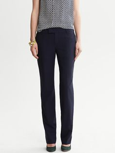 EP 4- Demi's interview outfits,Martin-Fit Navy Lightweight Wool Straight Leg