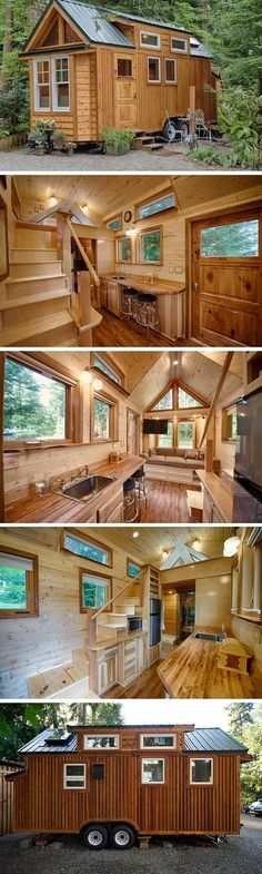The Hope Island Cottage, a 170 sq ft tiny house on wheels. There's actually a sauna inside this house!