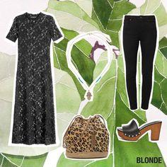 Unser Outfit der Woche:  Spitzenkleid H&M, ca. 30 Euro Jeans Topshop über Zalando, ca. 55 Euro Leder-Pantoletten ASOS, ca. 50 Euro Tasche UGG Australia über Sarenza.de, ca. 220 Euro Kette Topshop, ca. 12 Euro