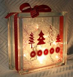 Christmas Glass Block