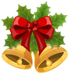 Christmas Bells with Bow PNG Clipart Image